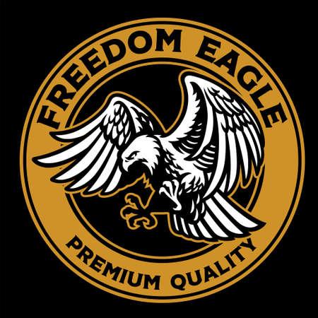 vector of flying bald eagle retro badge
