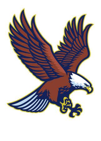 vector of bald eagle flying mascot