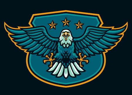 vector of eagle mascot logo on the shield 矢量图像