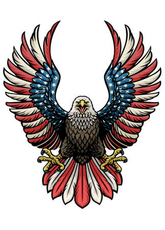 vector of eagle of america in hand drawn style