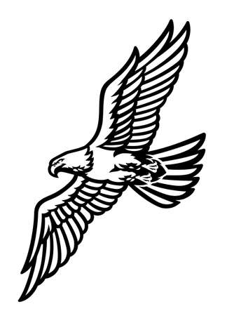 vector of flying eagle logo in black and white
