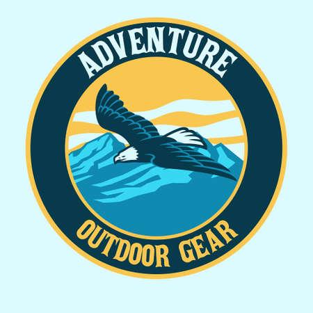 vector of bald eagle badge outdoor logo
