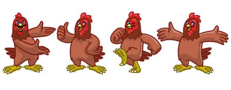 vector set cartoon character of funny chicken hen 矢量图像