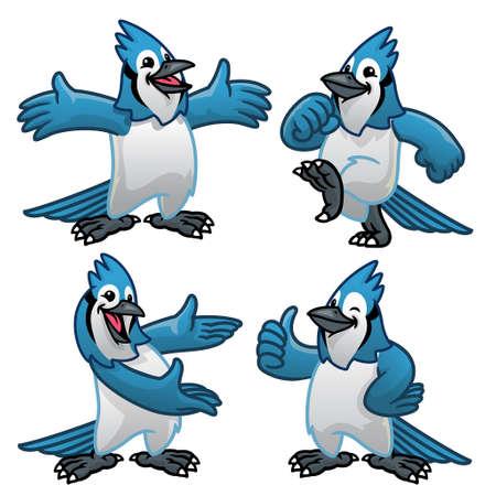vector set cartoon character of blue jay bird