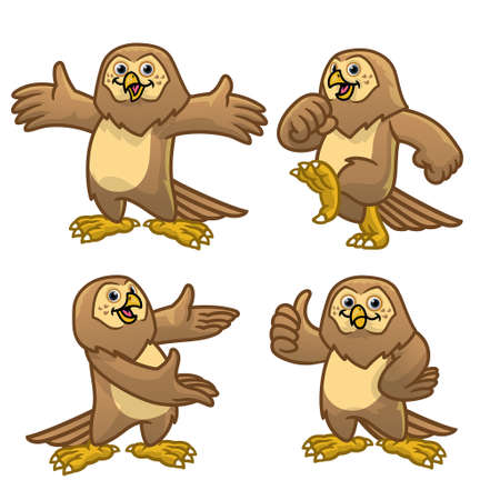 vector set cartoon character of funny owl bird 矢量图像