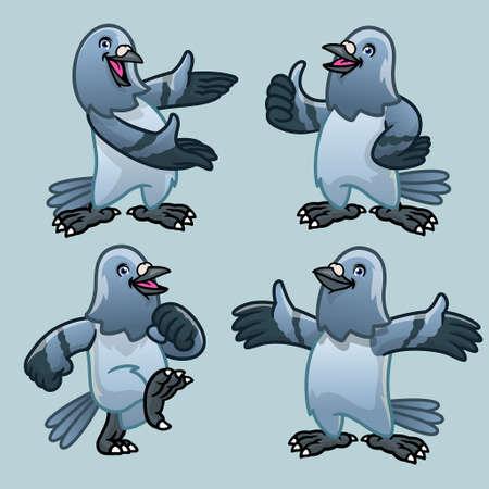 vector of set cartoon character of pigeon bird