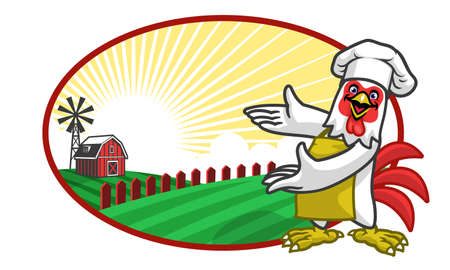vector of chicken chef and beautiful farm