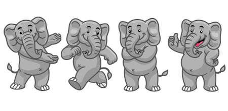 vector of set cartoon character of elephant