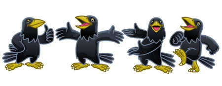 vector of set cartoon character of funny crow