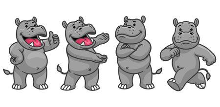 vector of set cartoon character of funny hippo