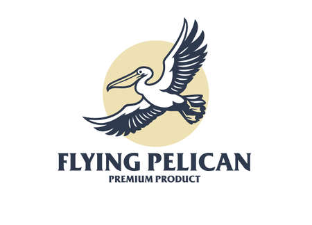Flying Pelican Elegant style 矢量图像