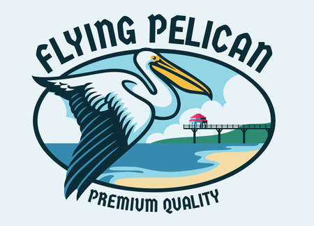 Flying Pelican with beach background