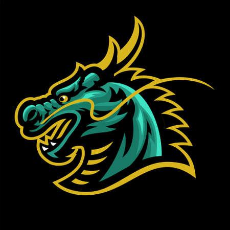 Dragon Head Mascot Sport and esport 矢量图像