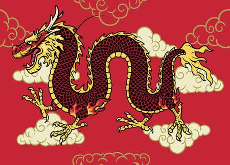 Asian Dragon hand drawn style 矢量图像