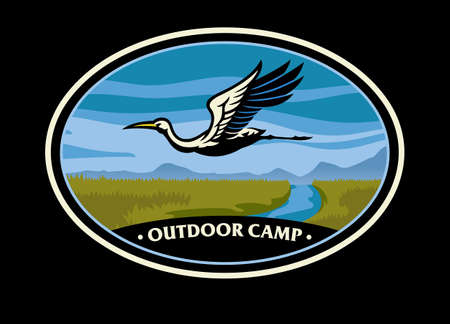 Nature camp badge with stork bird image Vettoriali