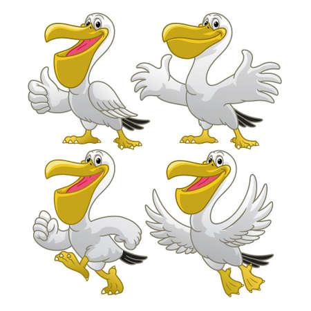 set cartoon of happy pelican character 矢量图像