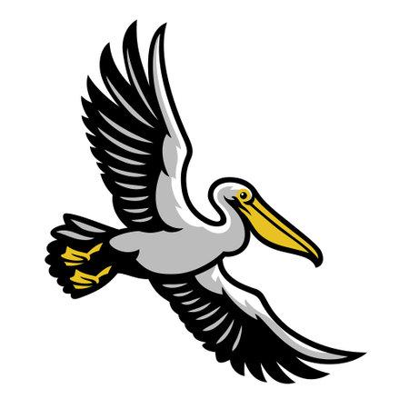 Pelican bird flying mascot Vettoriali