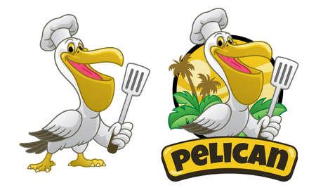 Pelican cartoon chef holding the spatula Vettoriali