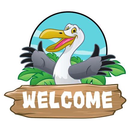 seagull bird cartoon with holiday tropical feel Vettoriali