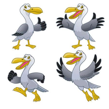 set happy cartoon of seagull character
