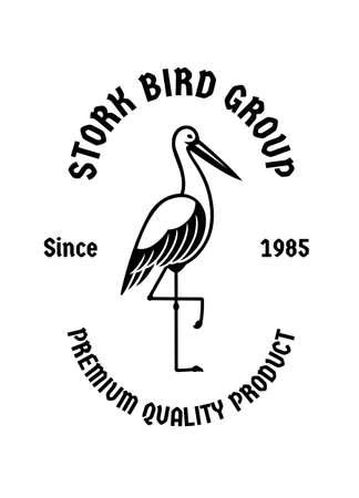 Stork bird standing vintage badge