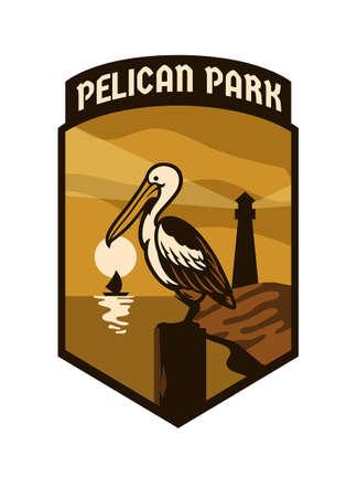 vintage park badge design of pelican bird