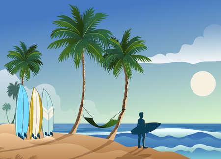 tropical beautiful surfing beach