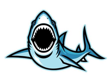 Angry attacking shark mascot 矢量图像