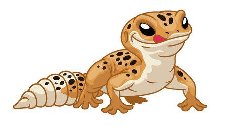 vector of Cute cartoon leopard gecko 矢量图像