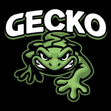 Vector Cartoon of Green gecko