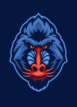 Mandrill monkey head Mascot