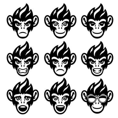 Cartoon Monkey Head set in various face Expression 矢量图像
