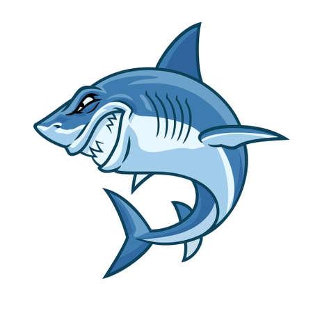 vector of Angry Cartoon Shark Character