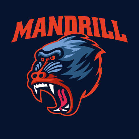 vector of Angry Mandrill Monkey head sport 矢量图像