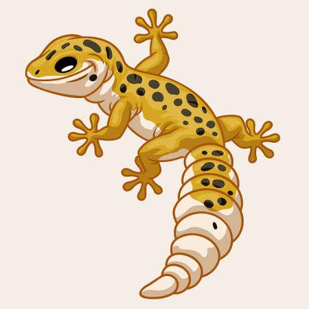 vector of Leopard Gecko in cute cartoon style