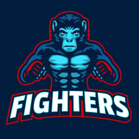 vector of Original Filename: Monkey MMA fighter Mascot