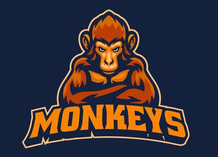 vector of Monkey Mascot esport 矢量图像