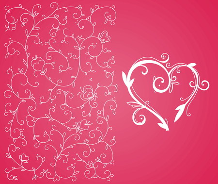 vector decoration: Ornamental heart and floral background for Valentines day
