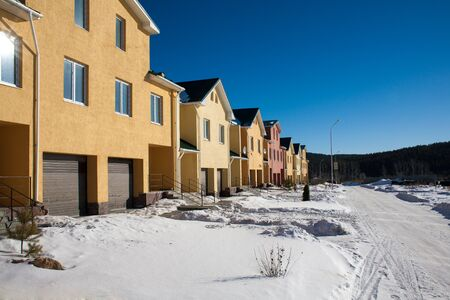 Newly Built Suburban Row Houses during winter time Stock Photo