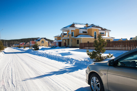 suburban: Newly Built Suburban Houses during winter time