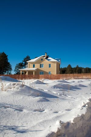 Newly Built Suburban House during winter time