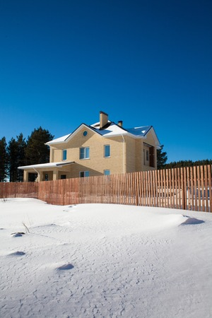suburban: Newly Built Suburban House during winter time