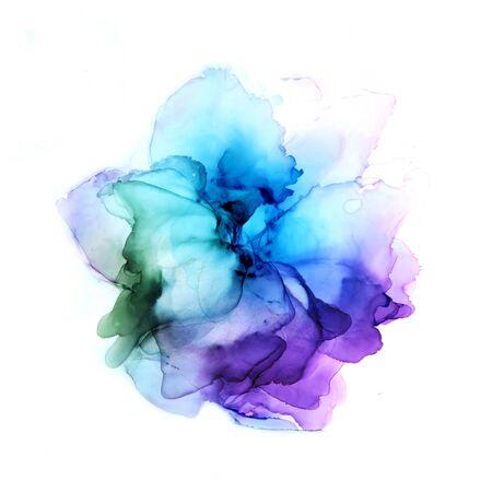 Fleur d'aquarelle dessinée à la main délicate dans des tons bleus et violets. Art d'encre d'alcool. Illustration raster.