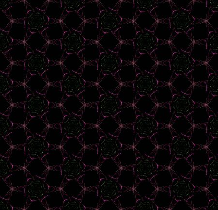 Digital flowers. Creative seamless pattern on black background. Abstract design of repeating roses.