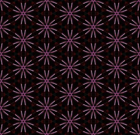 Hi-tech flowers. Futuristic seamless pattern on black background. Abstract design of repeating glowing elements.