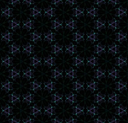 Dark digital flowers. Creative seamless pattern on black background. Abstract design of repeating flowers.