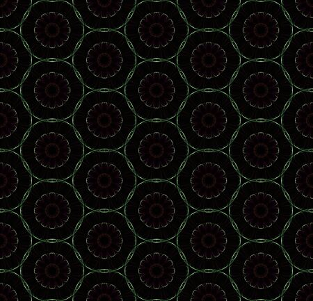 Abstract digital flowers. Creative seamless pattern on black background.
