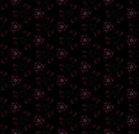 Digital flowers. Cool seamless pattern on black background. Abstract design of repeating glowing flowers.