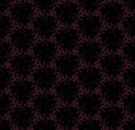 Unearthly flowers. Cool seamless pattern on black background. Abstract design of repeating glowing flowers. Stock Photo