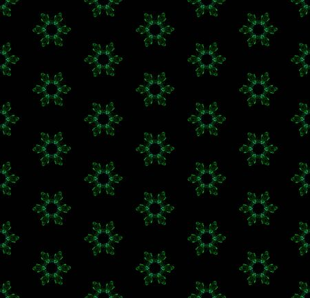 Futuristic seamless gemstone pattern on black background. Abstract jewelry design of repeating green glowing elements.